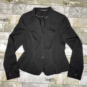 WHBM dot embroidered lapel western black blazer